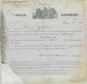 Gold License printed by John Ferres, Government Printer in 1852
