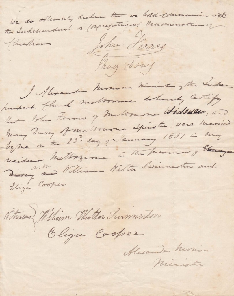 Mary Davey and John Ferres - Marriage certificate 23rd January 1851