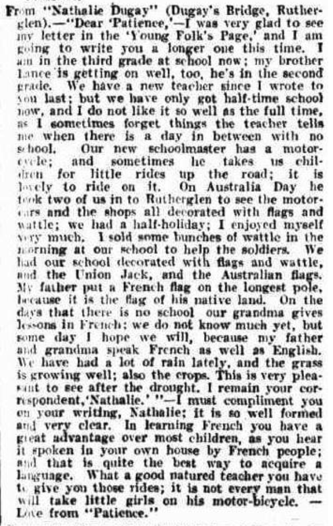 THE YOUNG FOLK. (1915, October 2). The Australasian (Melbourne, Vic. : 1864 - 1946), p. 53. Retrieved January 26, 2016, from http://nla.gov.au/nla.news-article142980183