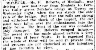 Report of Fred Roberts' car accident in 1922